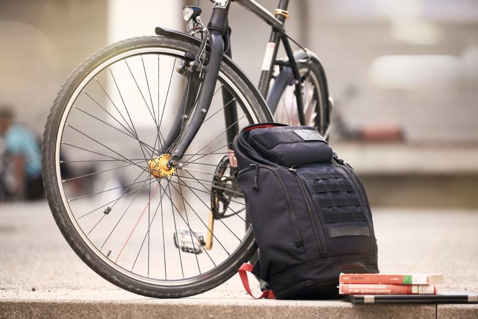Fahrrad mit Rucksack